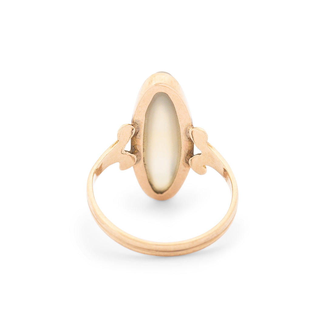 Victorian Agate And 14k Yellow Gold Navette Ring