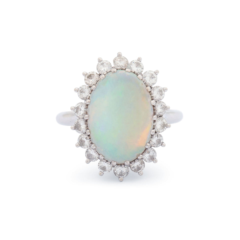 Opal And Diamond Cluster 14k Gold Ring