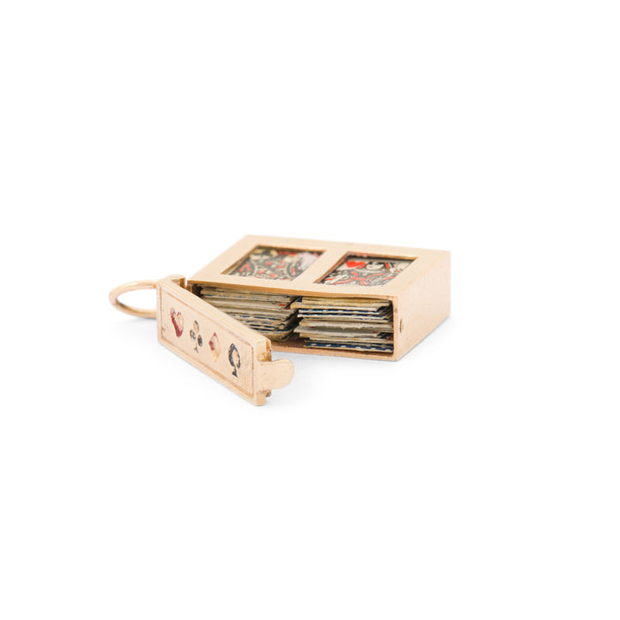 Movable Playing Cards 14K Gold, Enamel, And Paper Charm