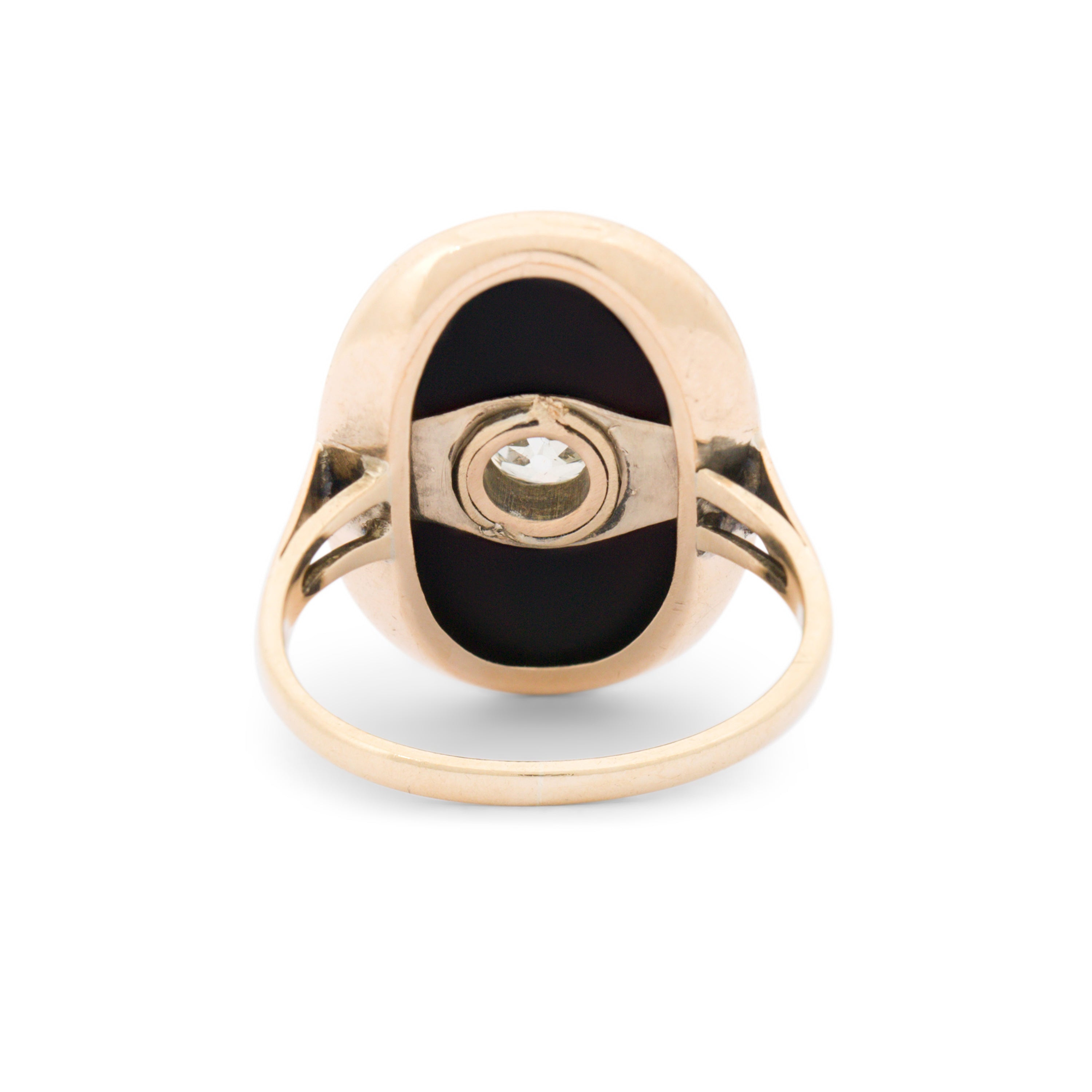 Victorian Onyx, Old Mine Cut Diamond And 14k Gold Ring
