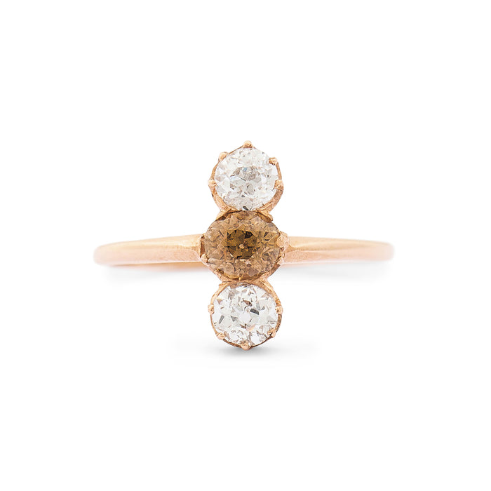 Victorian Old Mine Cut White And Brown Diamond And 18k Rose Gold Ring