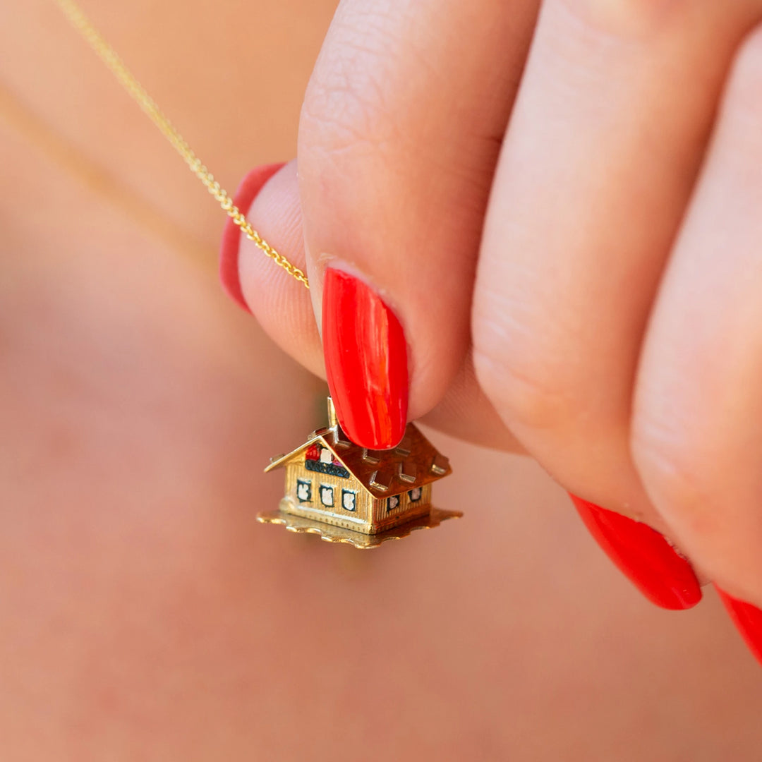 Movable 3-D Enamel House And 14K Gold Charm