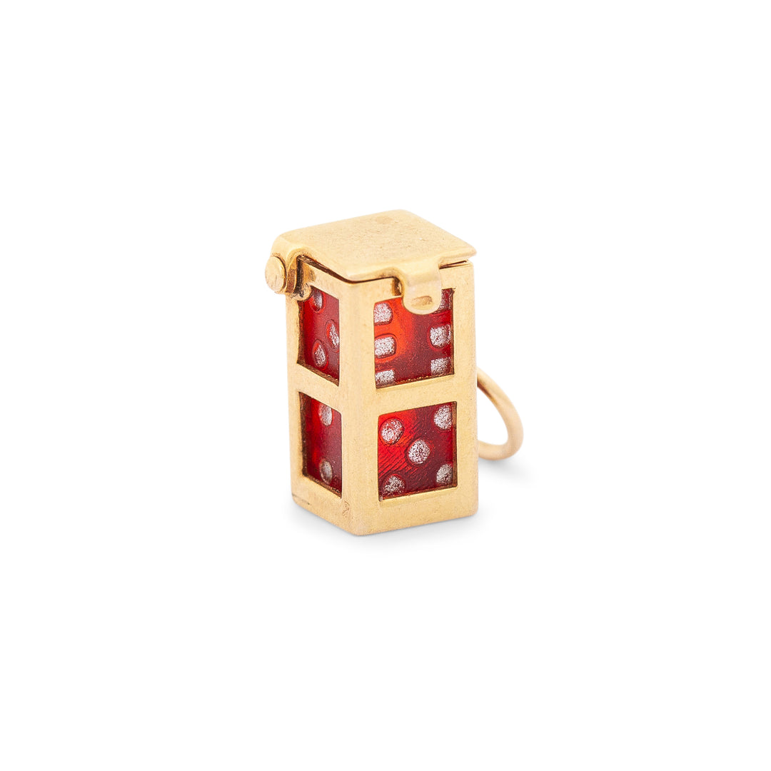 Red Dice 14K Gold Movable Charm