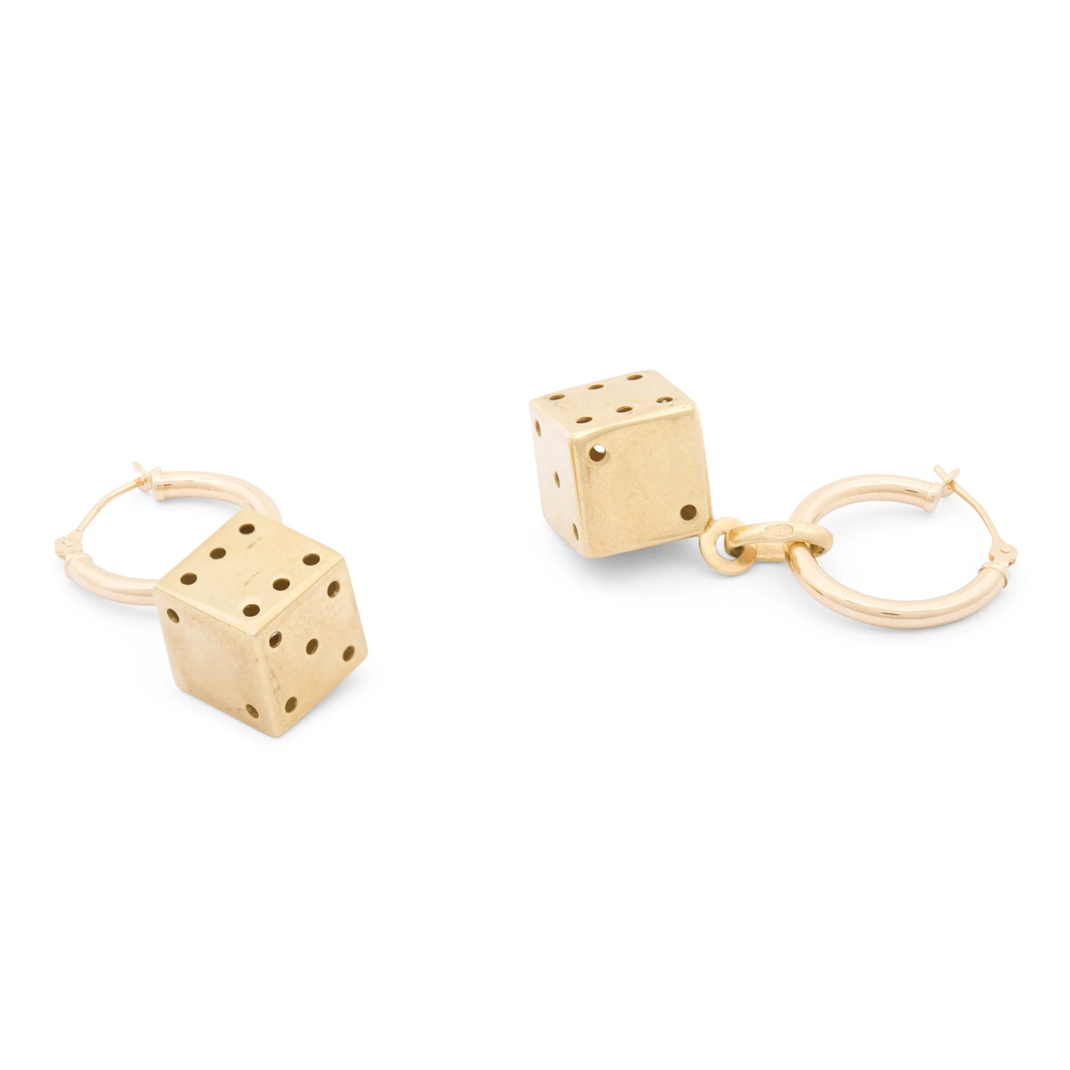 Italian 14k Gold Dice Charm Earrings