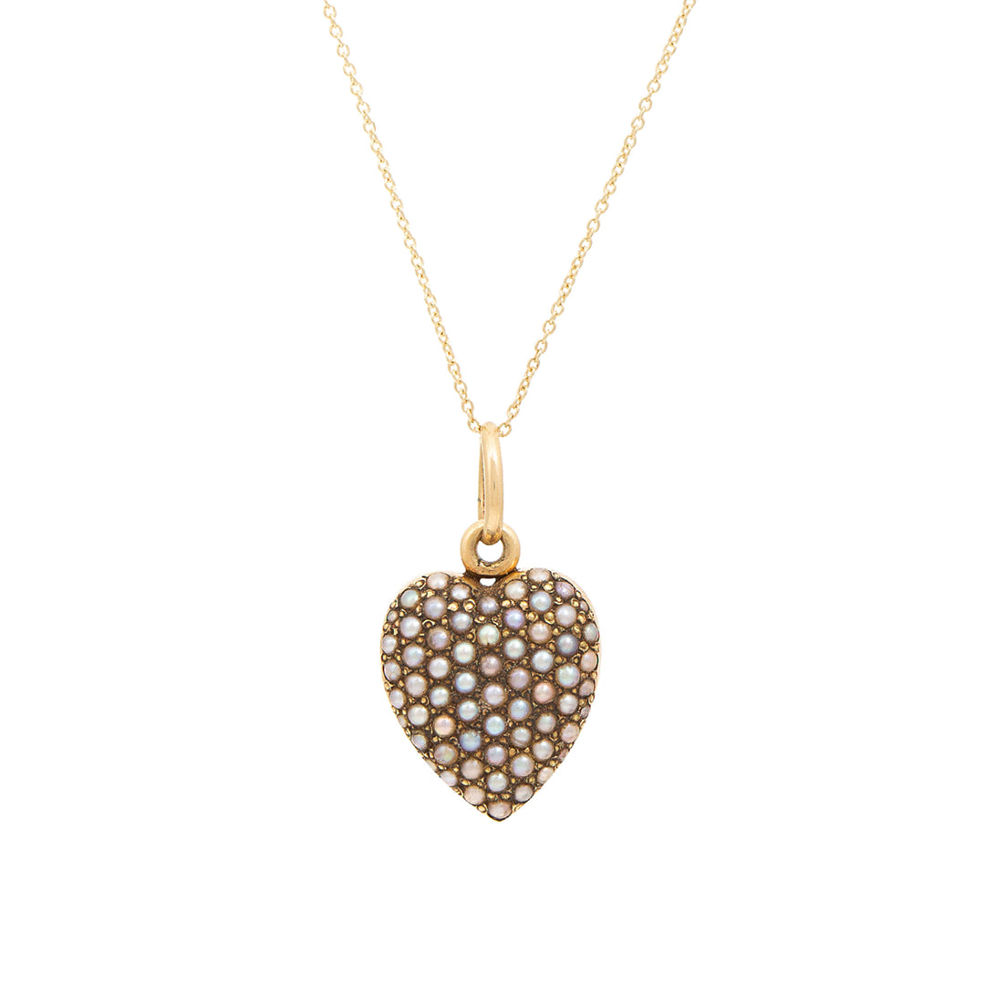 Victorian Pave Pearl Heart Locket And 14k Gold Necklace