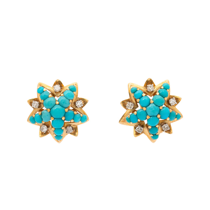 Turquoise And Diamond Starburst 18k Gold Earrings