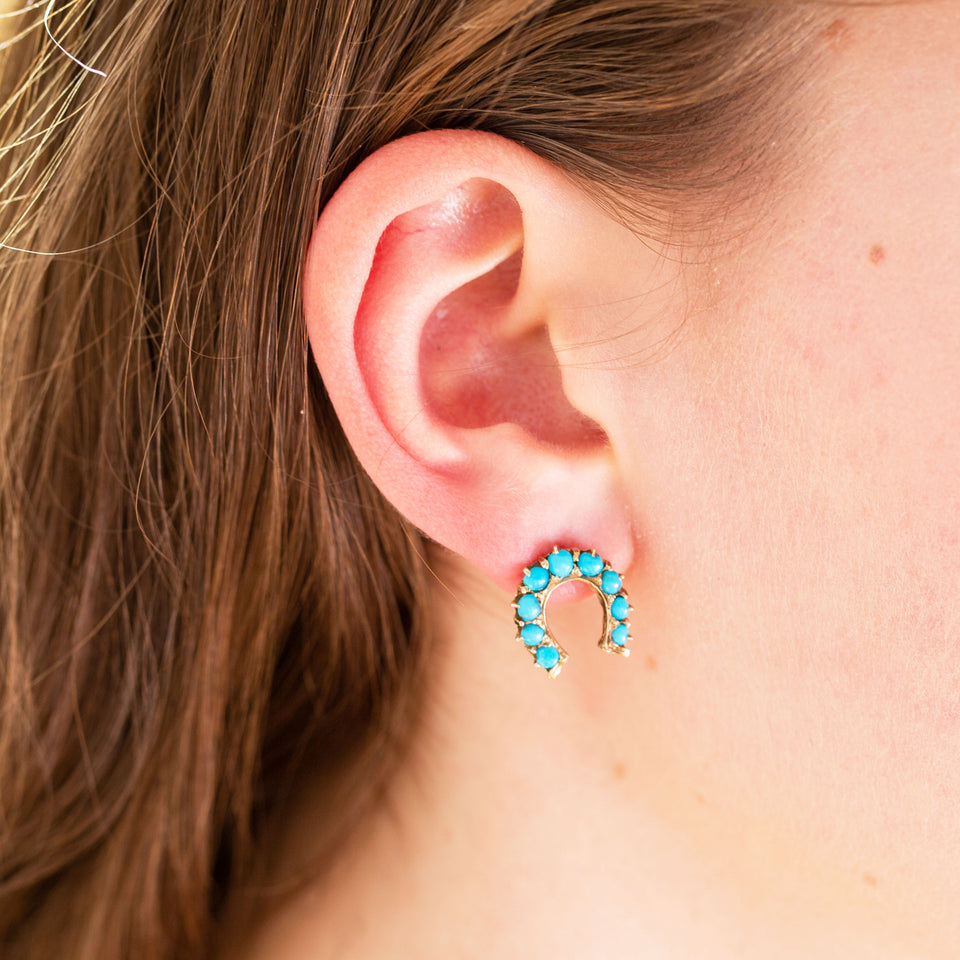 Victorian Turquoise And 15k Gold Horseshoe Earrings