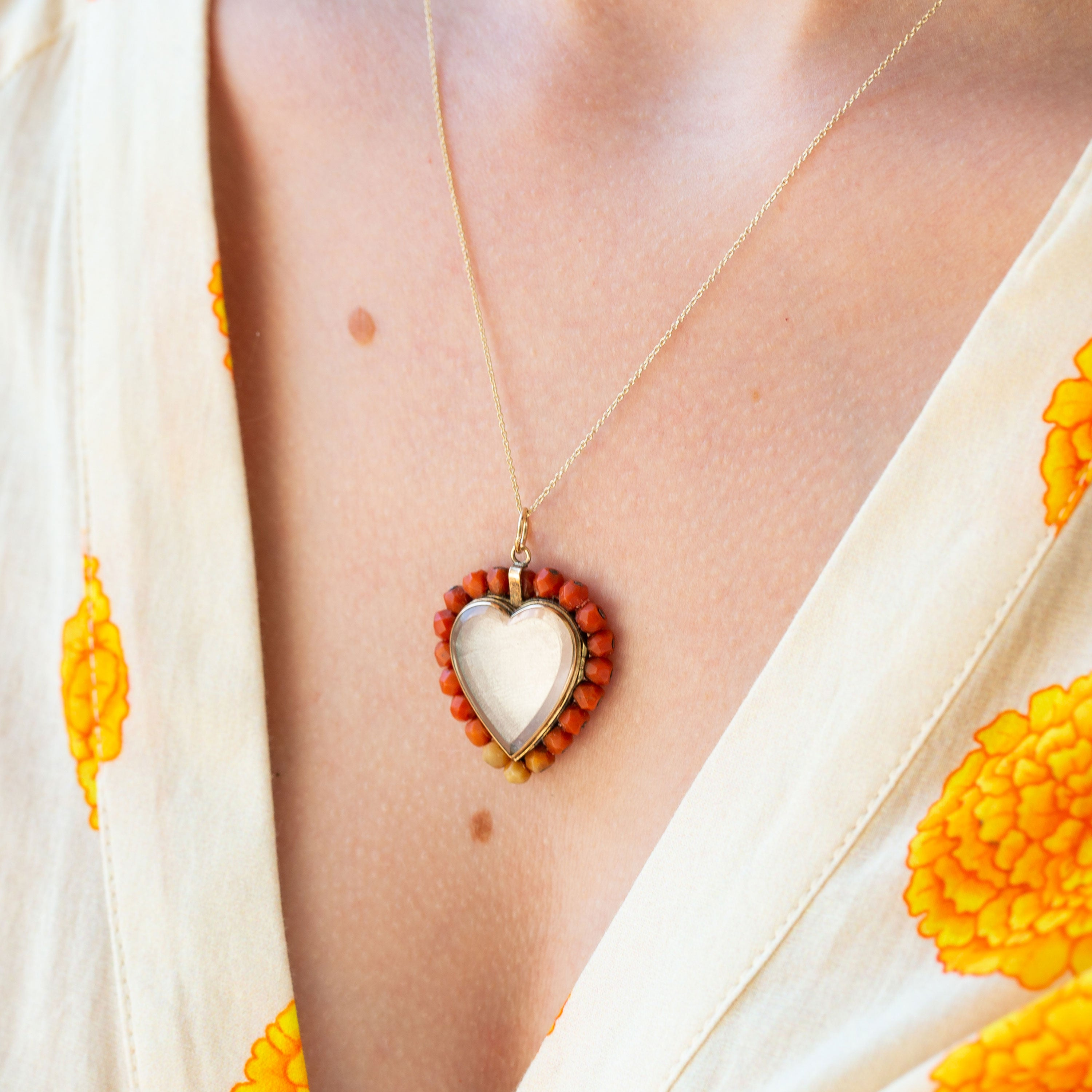 Victorian Coral Heart And 10k Gold Locket Necklace