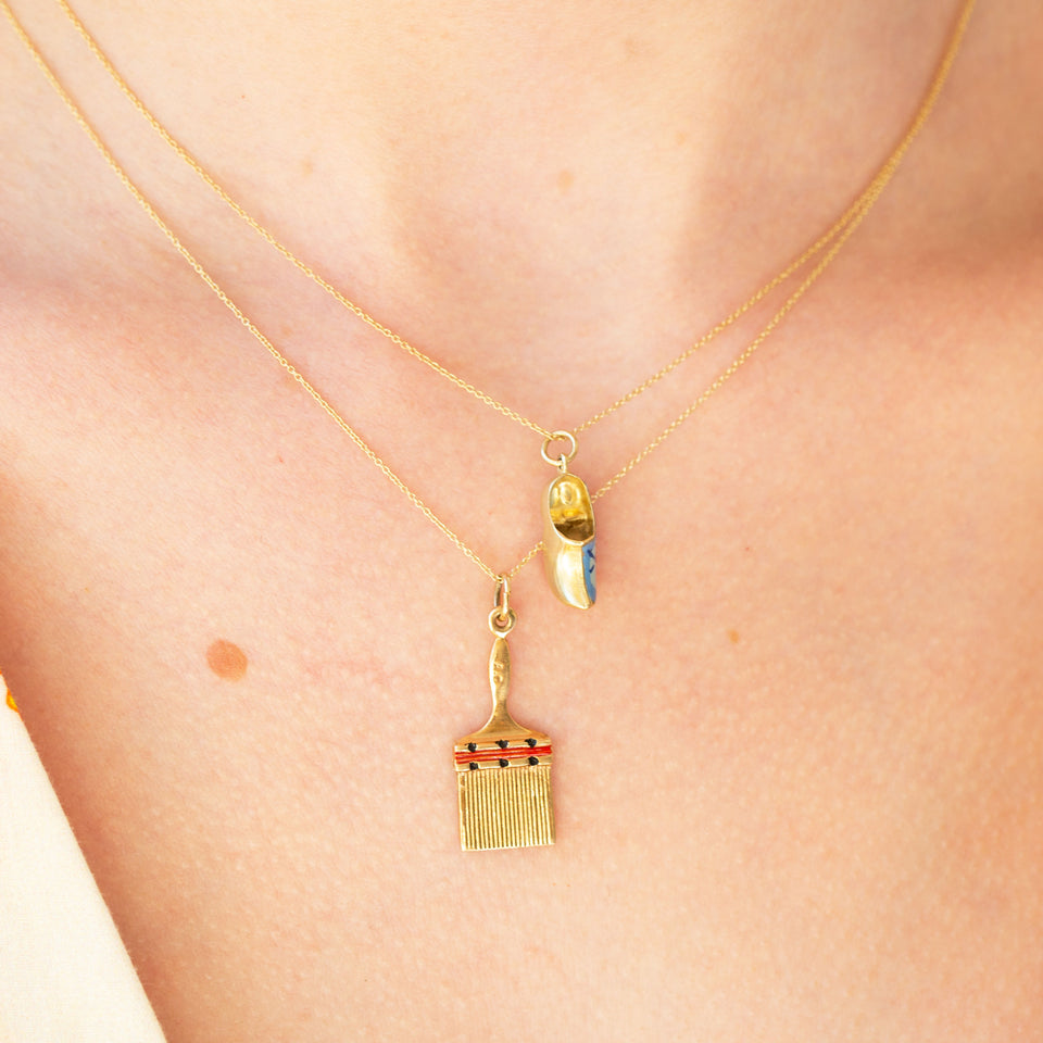 Paintbrush With Enamel and 14k Gold Charm