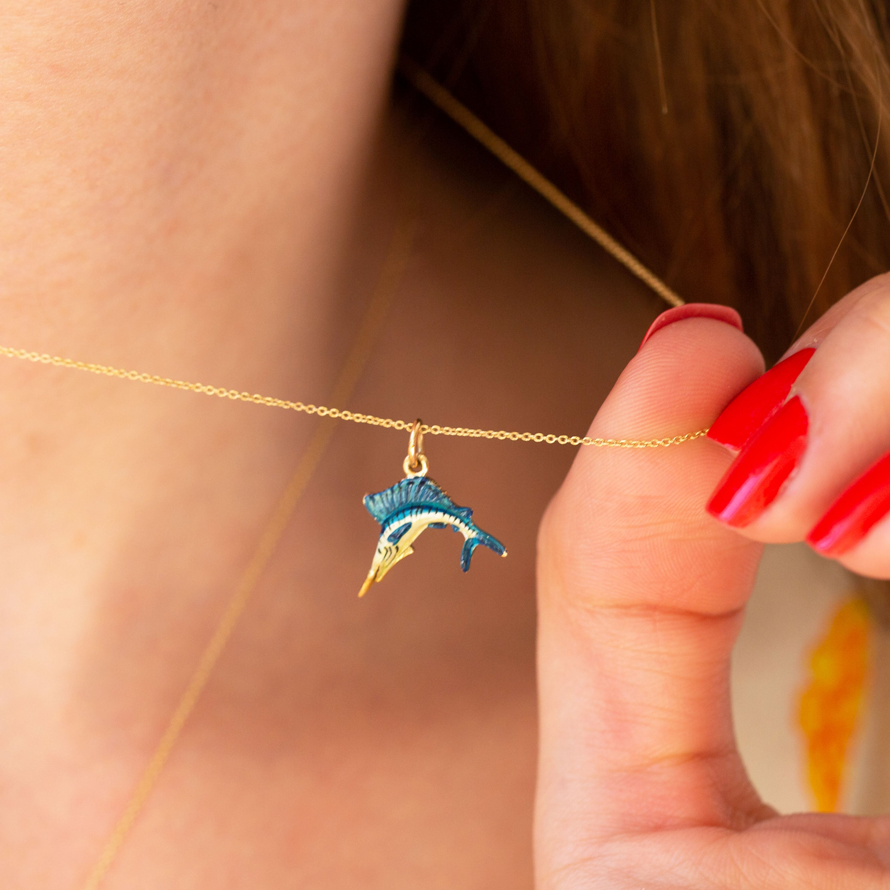 Jumping Fish With Enamel And 14k Gold Charm