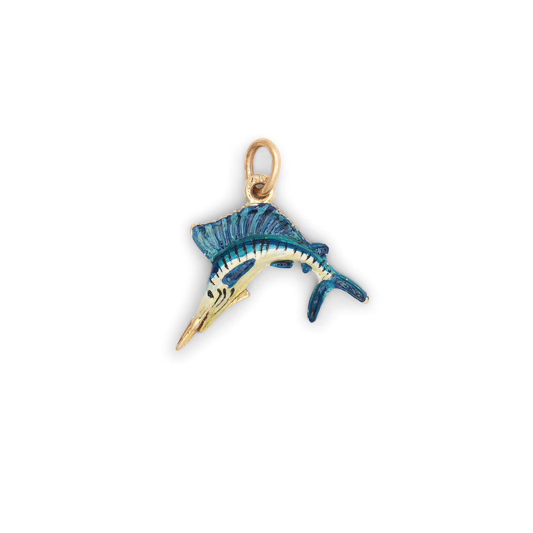 Jumping Sailfish With Enamel And 14k Gold Charm