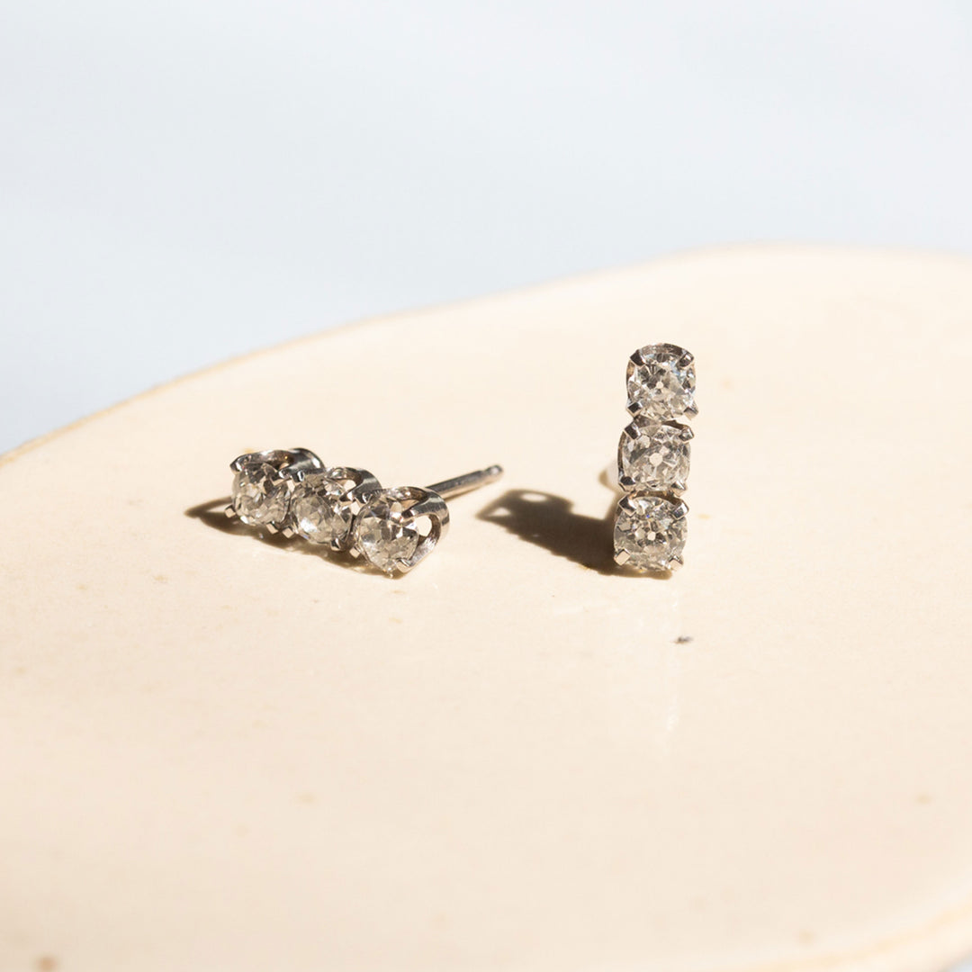 Old Mine Diamond Stud 14k White Gold Earrings