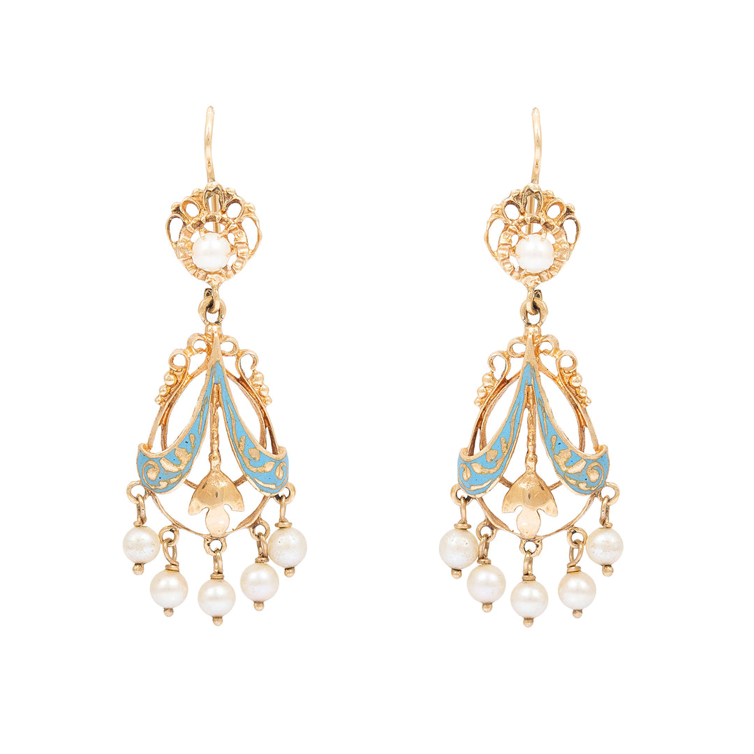 Victorian Blue Enamel And Pearl 14k Gold Chandelier Earrings