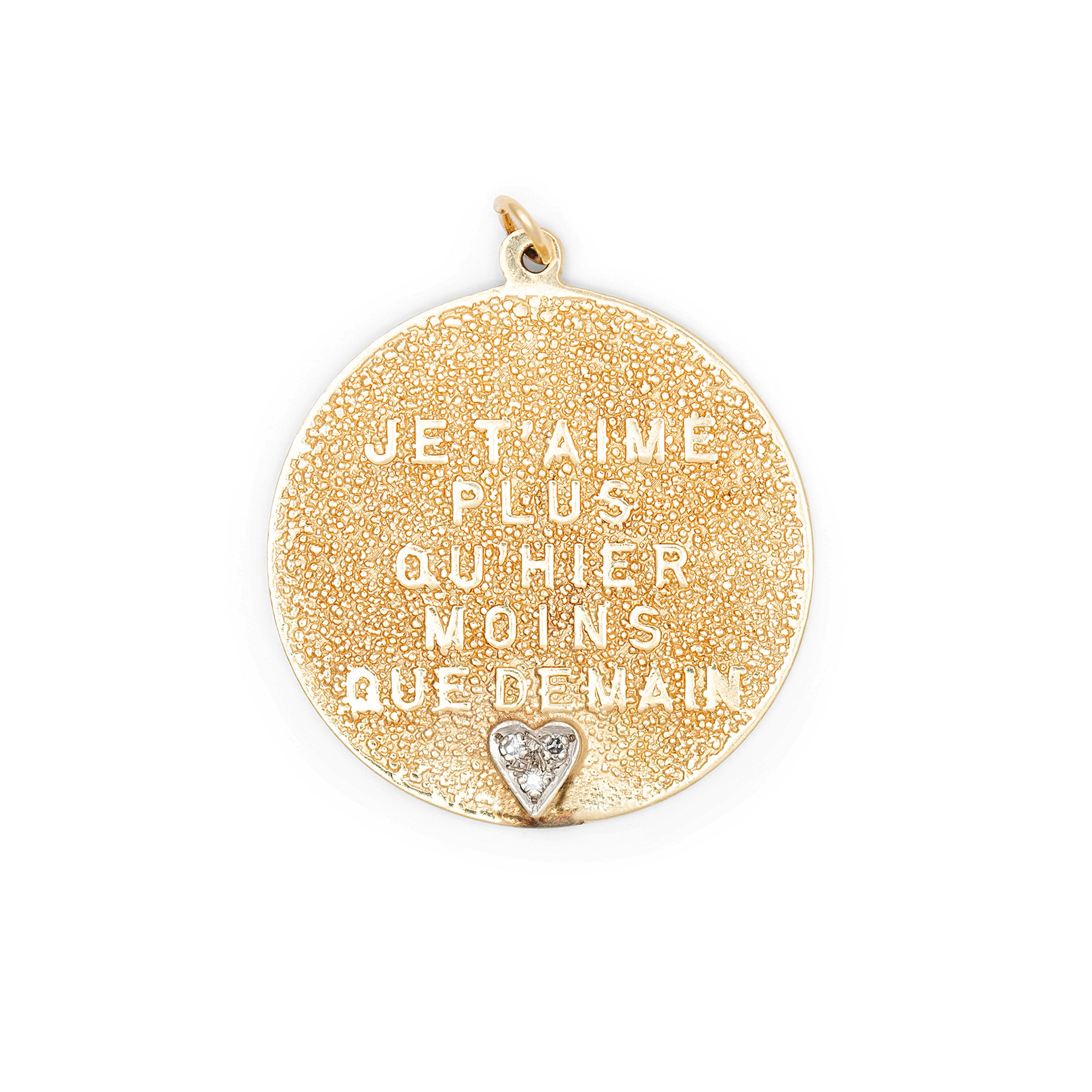 Qu'Hier Que Demain 14k Gold And Diamond Charm By Merrin