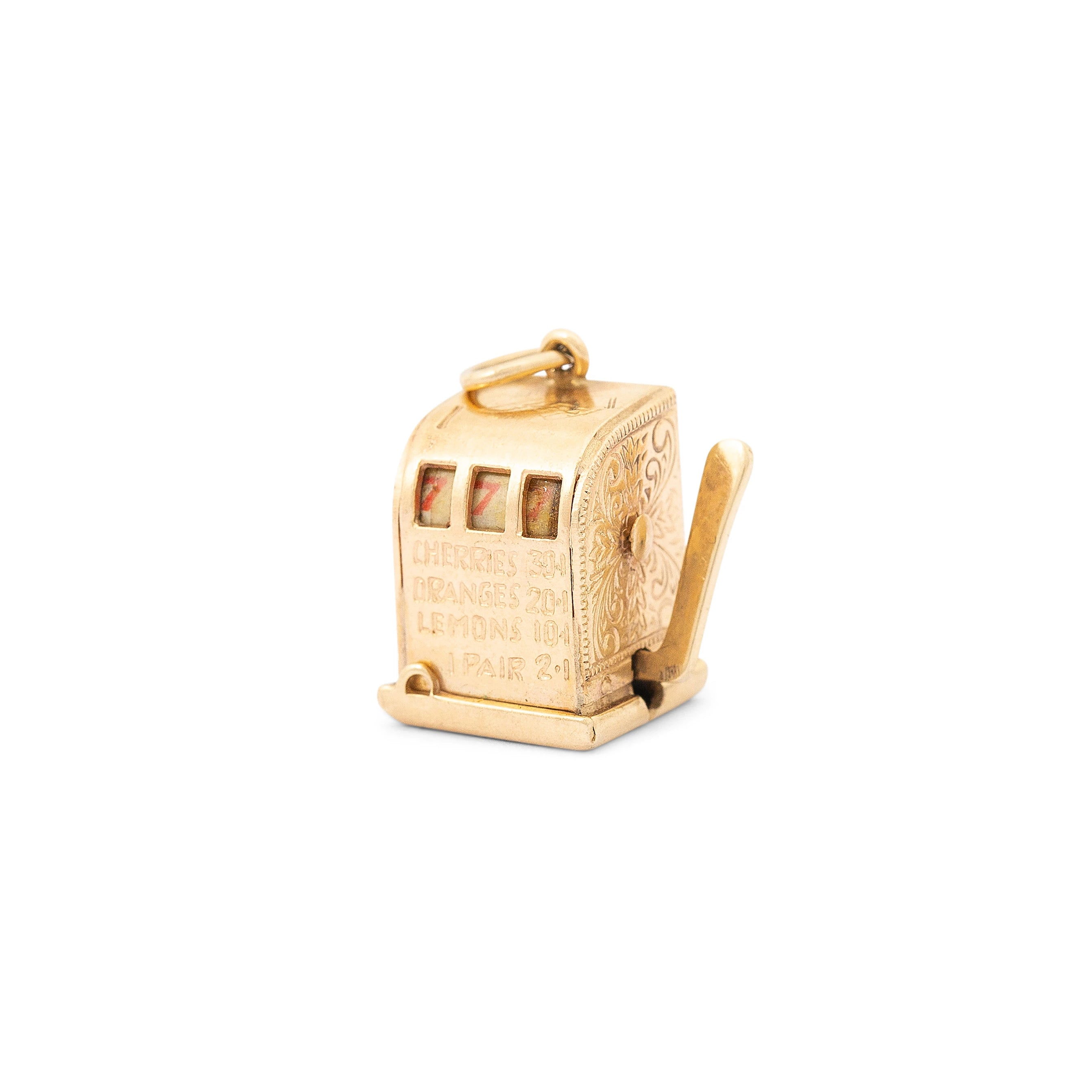Movable Slot Machine 14K Gold Charm