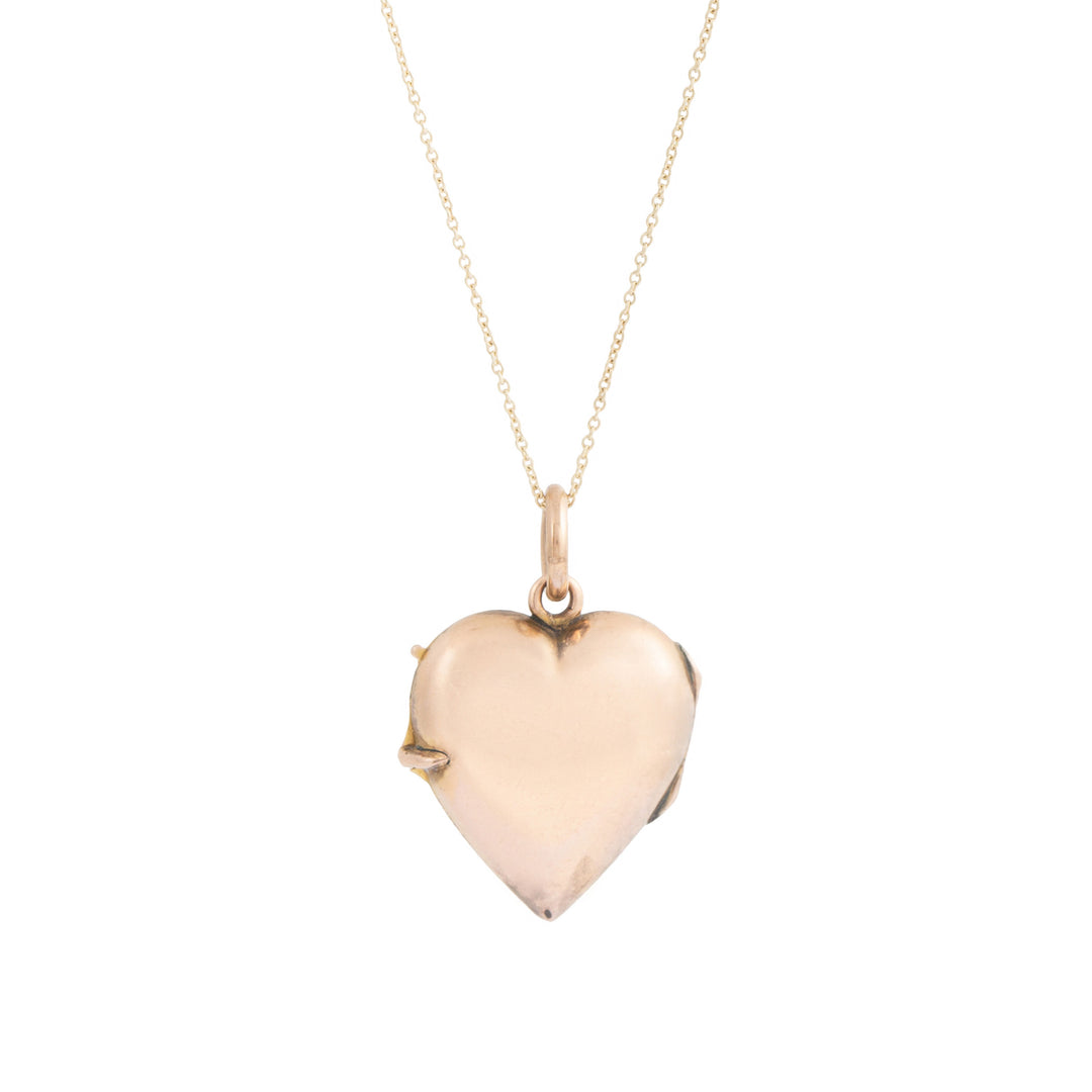 Victorian Rose Cut Diamond And 14k Gold Heart Locket Necklace