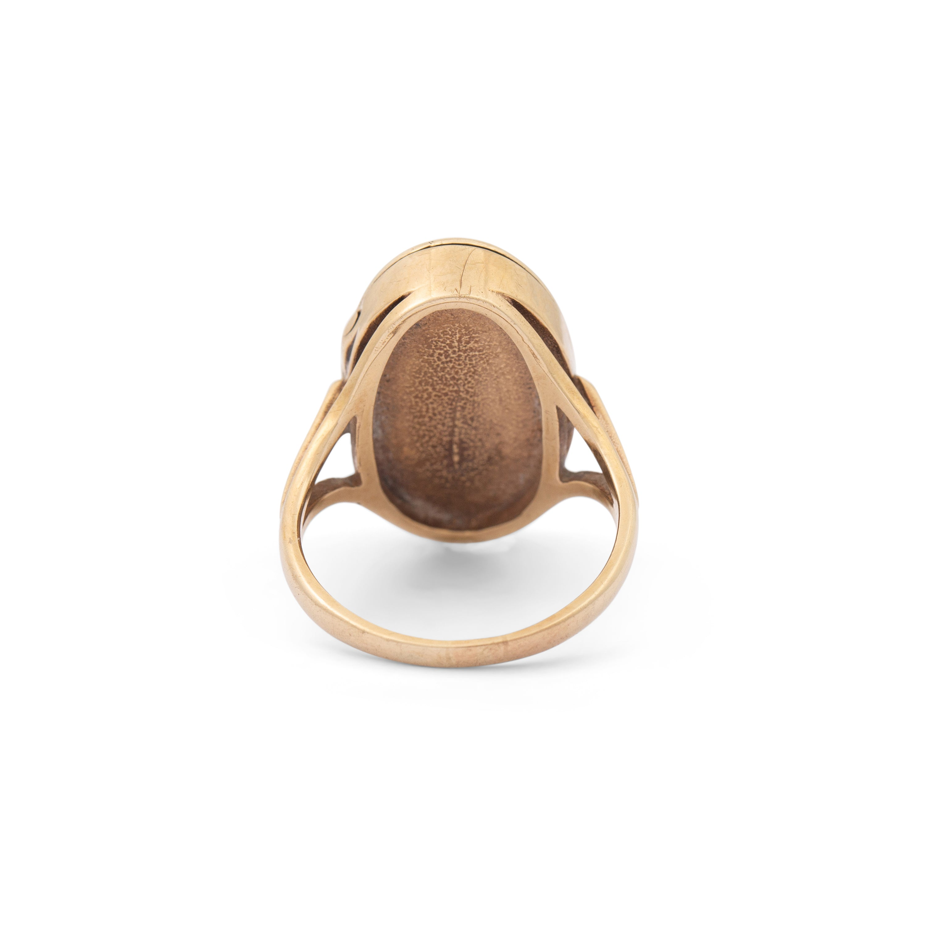 Oval 12K Gold Engraved Locket Ring