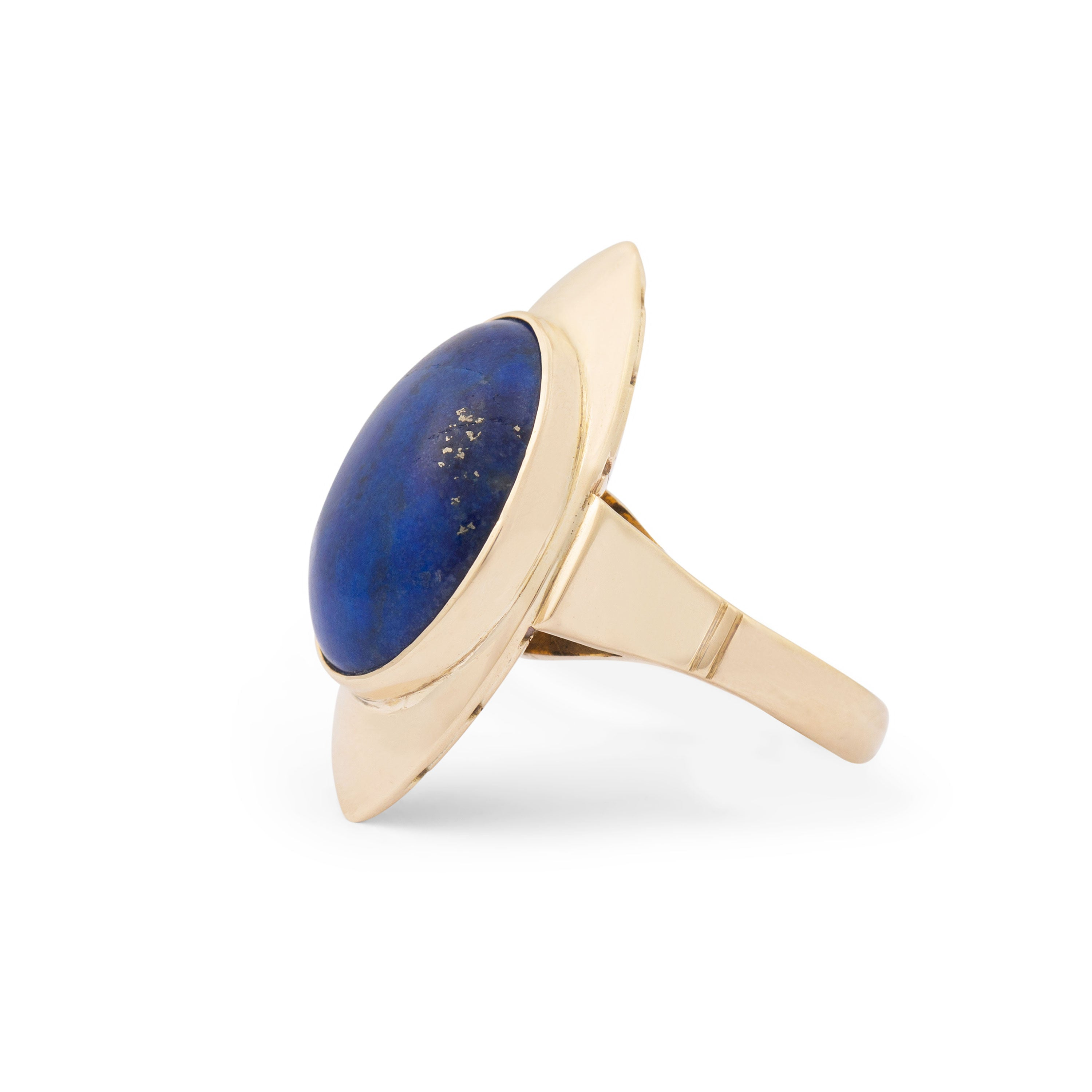 Lapis Lazuli And 18k Gold Navette Ring