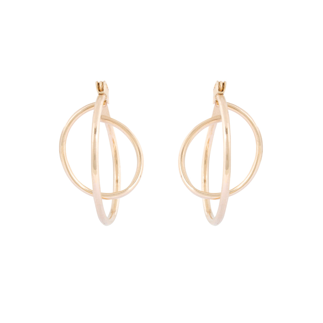 Double Hoop 14k Gold Earrings