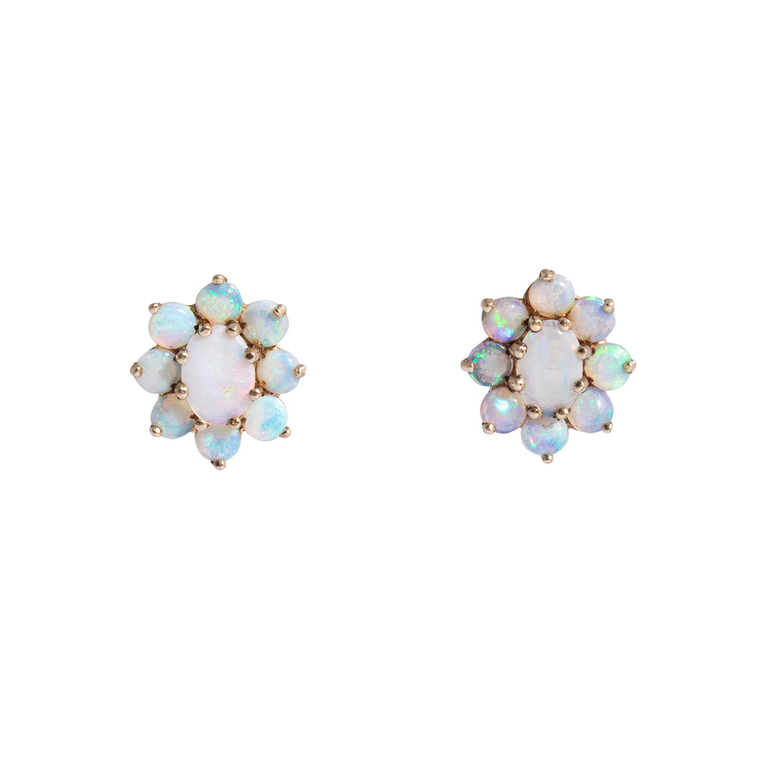Opal Cluster 14k Gold Earrings