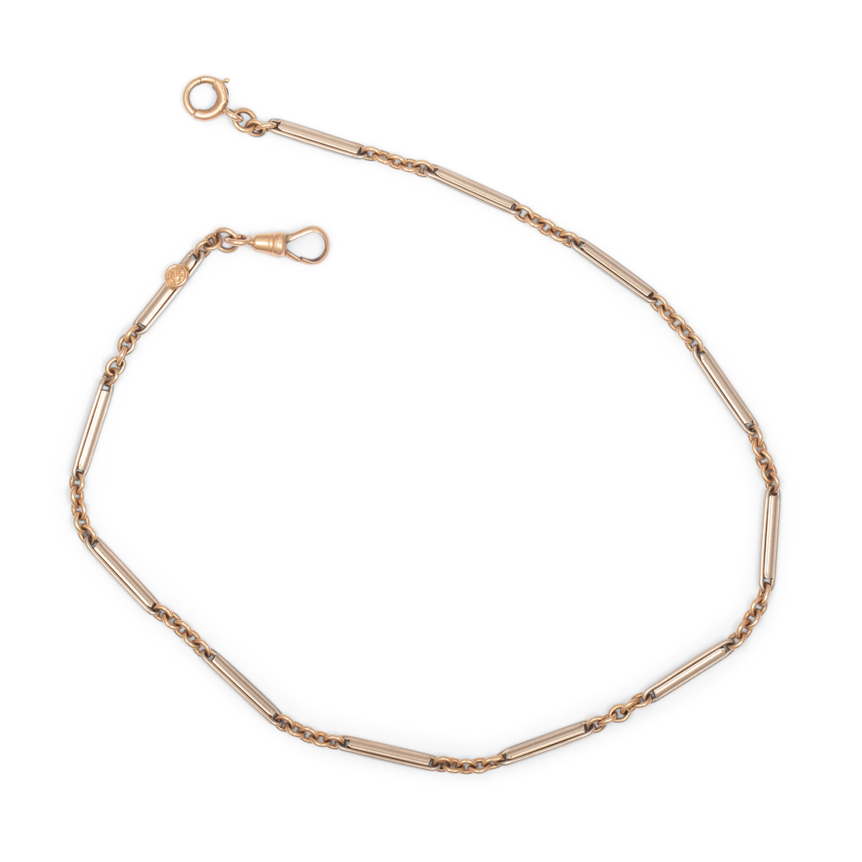 Edwardian Choker Chain 14k Rose And White Gold Necklace