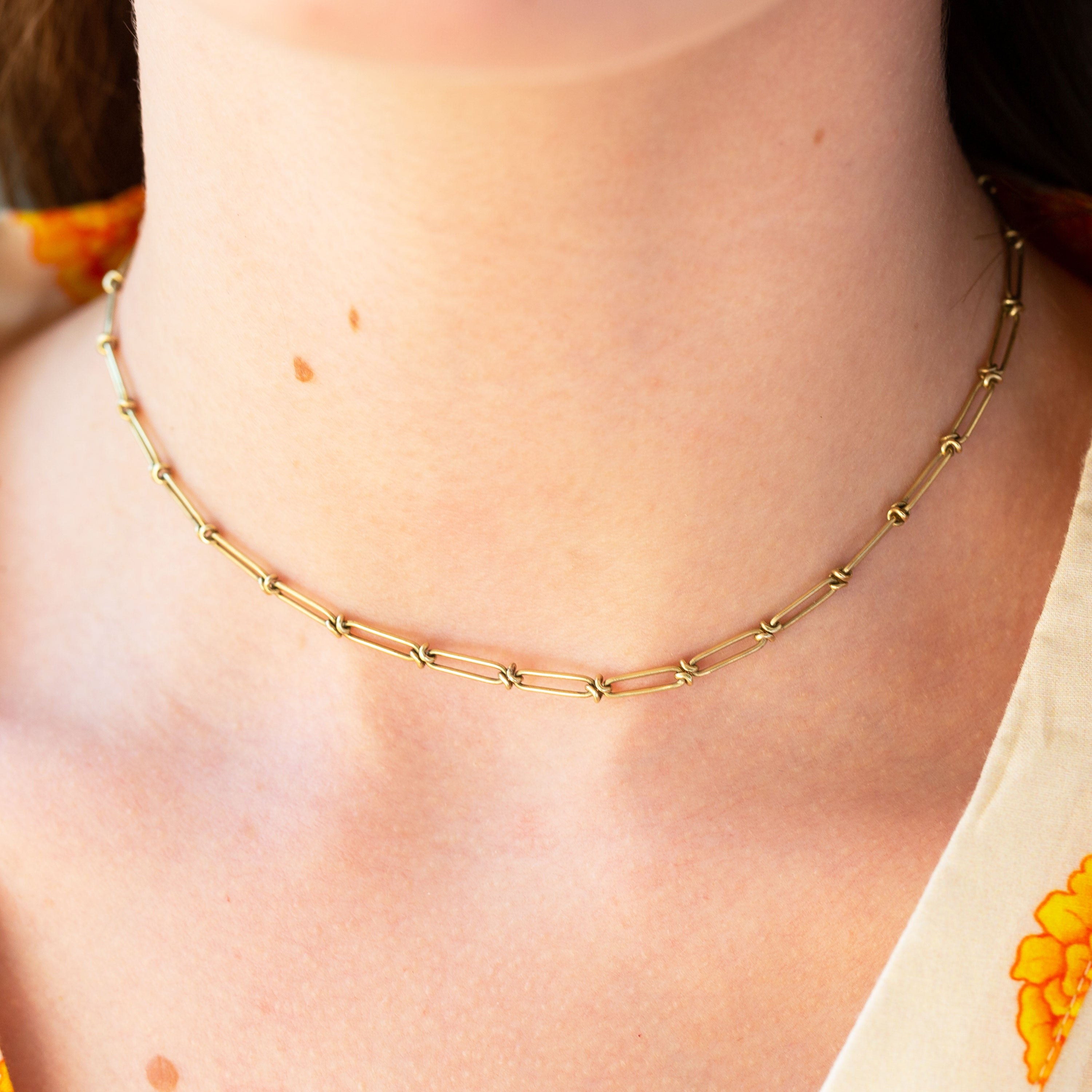 Victorian Choker 14k Gold Chain Necklace