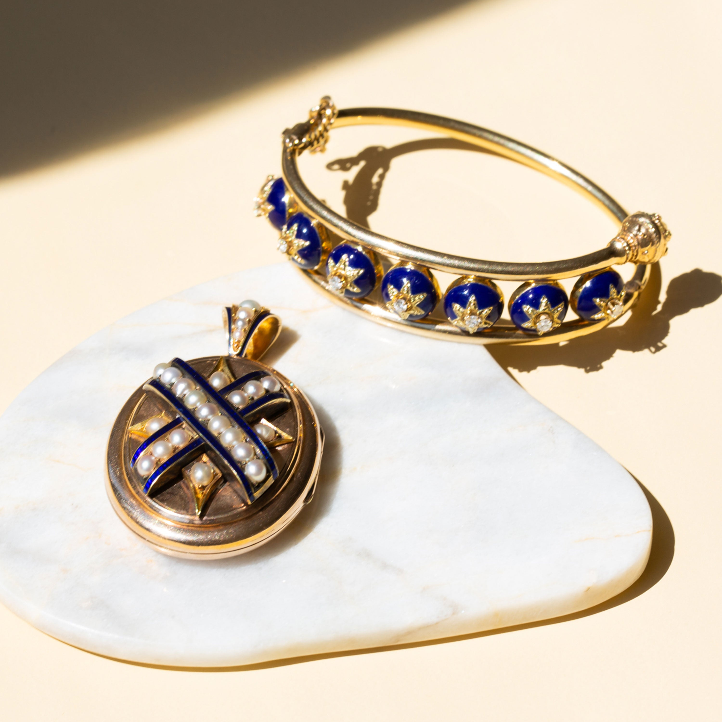 Victorian Blue Enamel And Pearl 14k Gold Locket