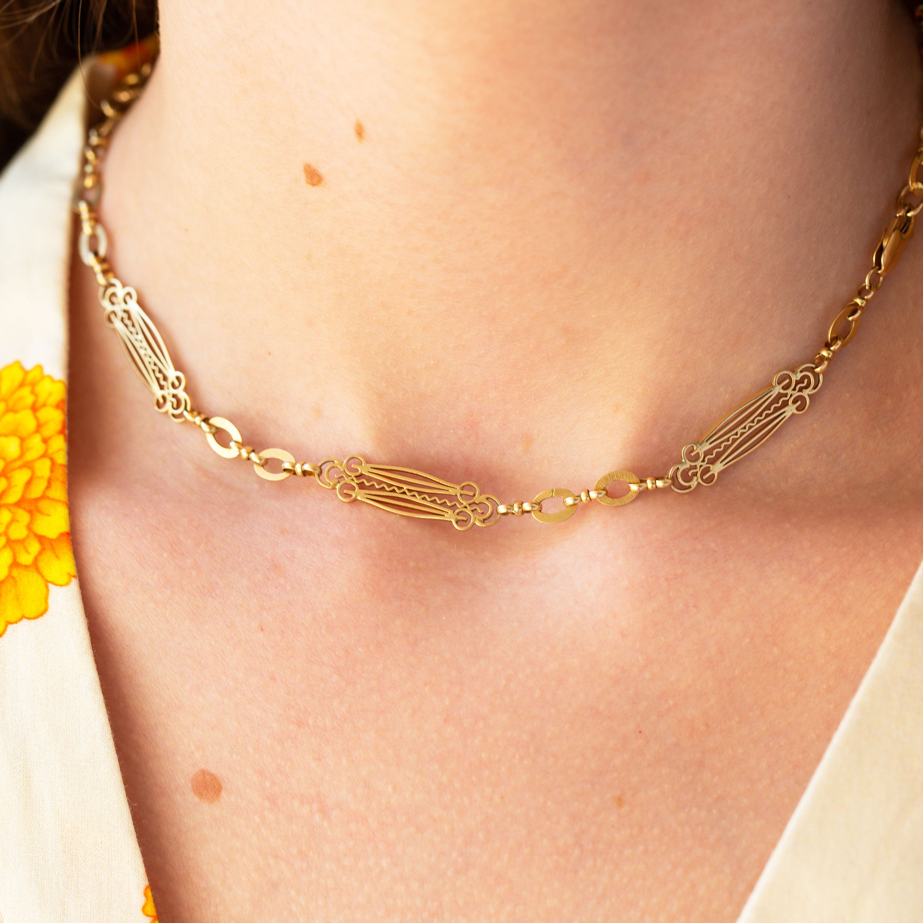 Ornate 14k Gold Chain Bracelets And Convertible Necklace