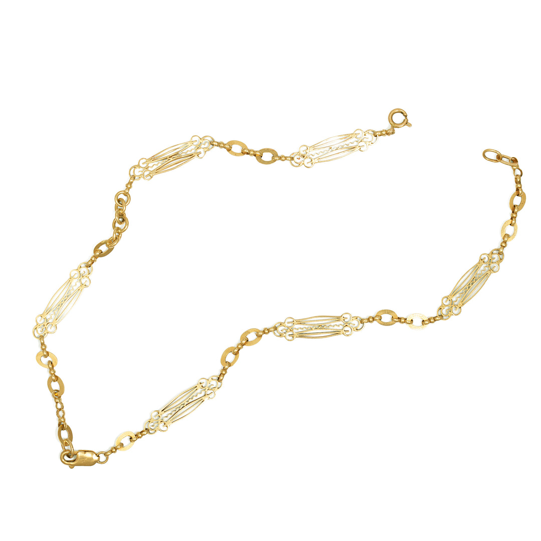 Ornate 14k Gold Chain Necklace And Convertible Bracelets