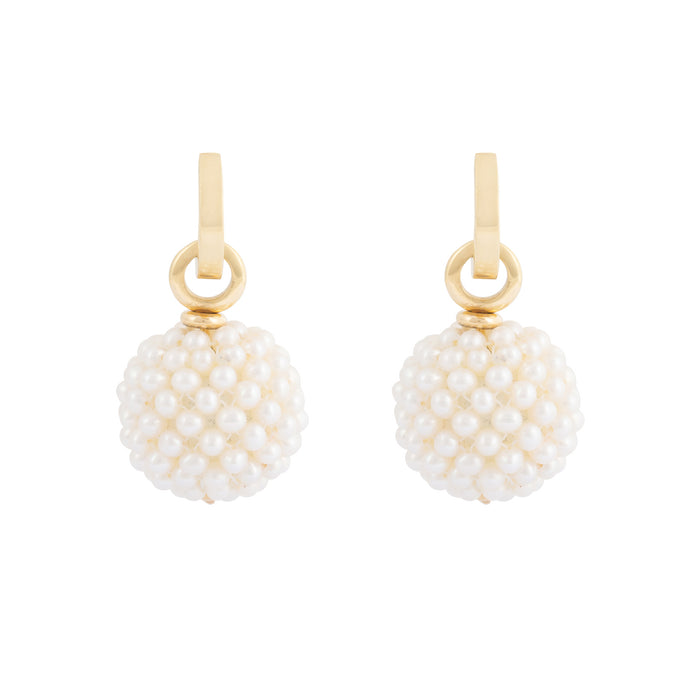 Italian Removable Pearl Drop 18k Gold Hoop Earrings