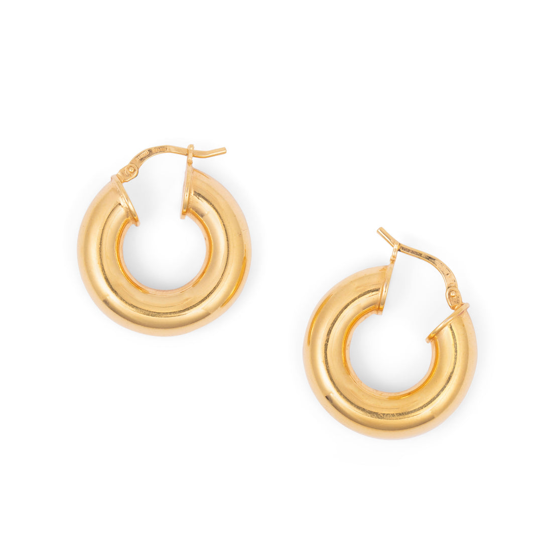 Italian 18k Yellow Gold Hoop Earrings