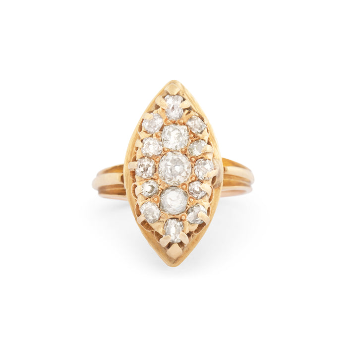 Victorian Navette Old Mine Cut Diamond And 12k Gold Ring