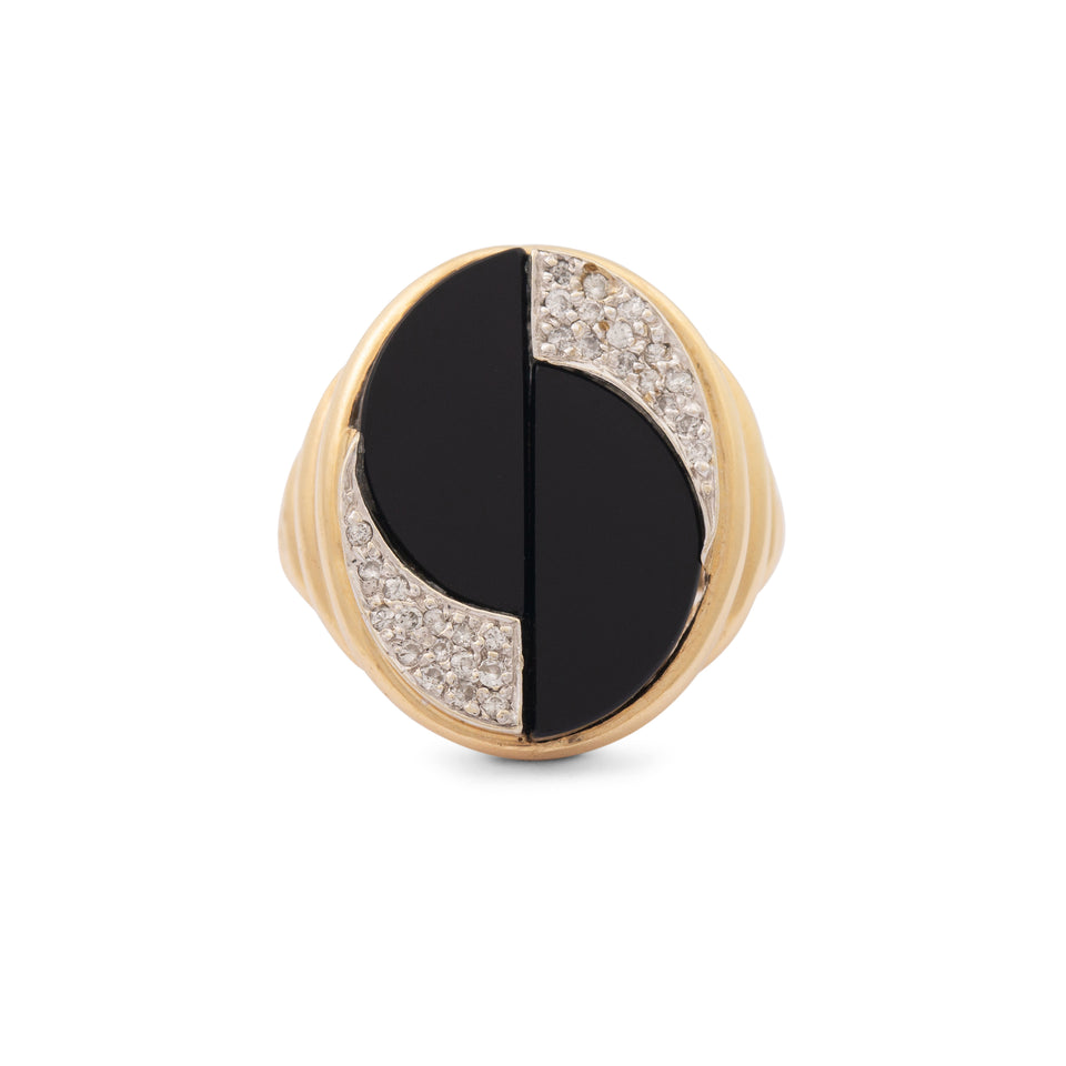 Onyx And Diamond 14k Gold Ring