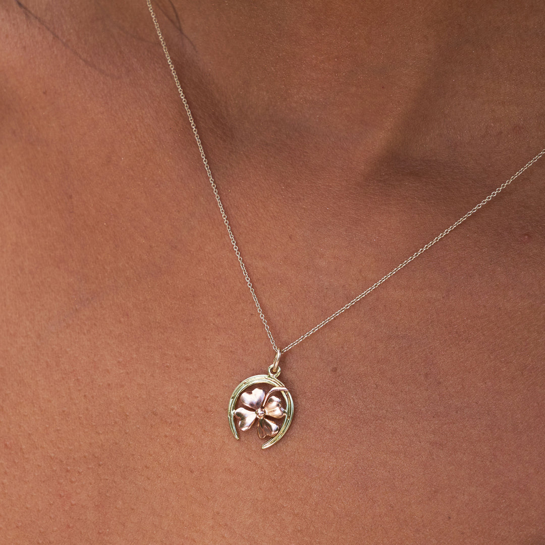 Horseshoe And Clover 14k Yellow And Rose Gold Charm
