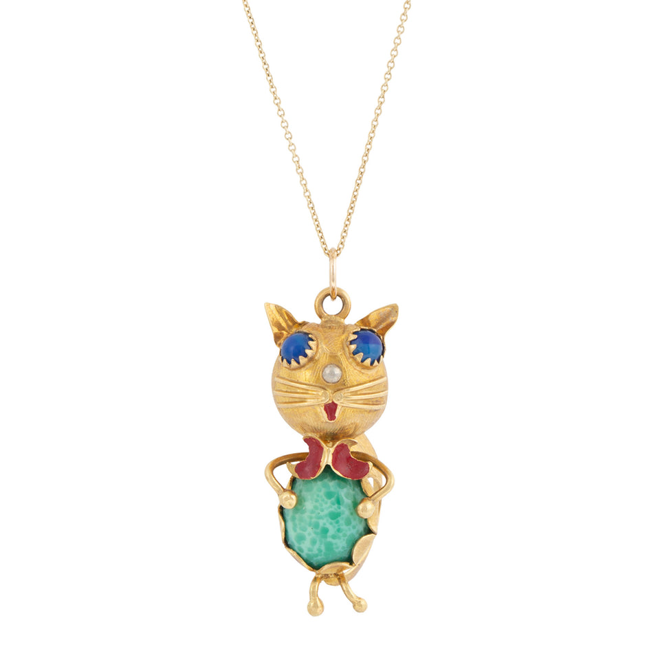 Italian Cat Green Glass And 18k Gold Pendant Necklace