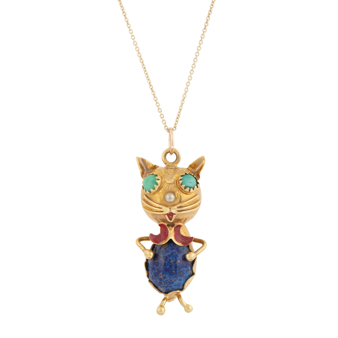 Italian Cat Blue Glass And 18k Gold Pendant Necklace