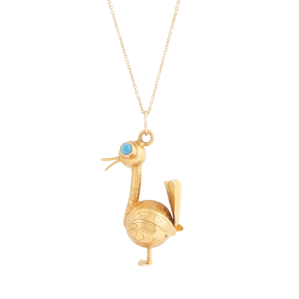 Turkey With Turquoise And 18K Gold Pendant Necklace