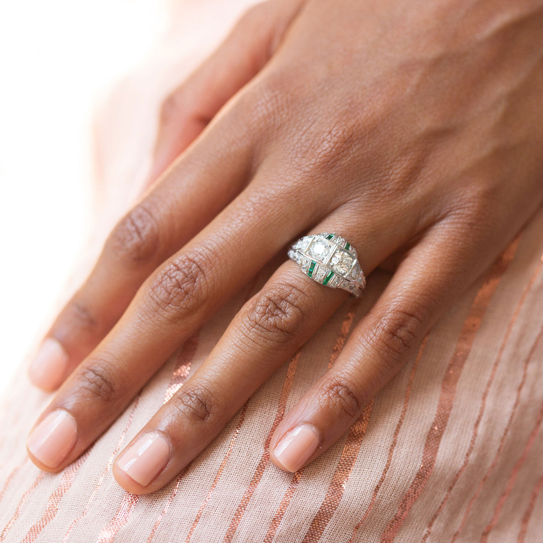 Art Deco Old European Cut Diamond And Calibre Cut Emerald Platinum Ring