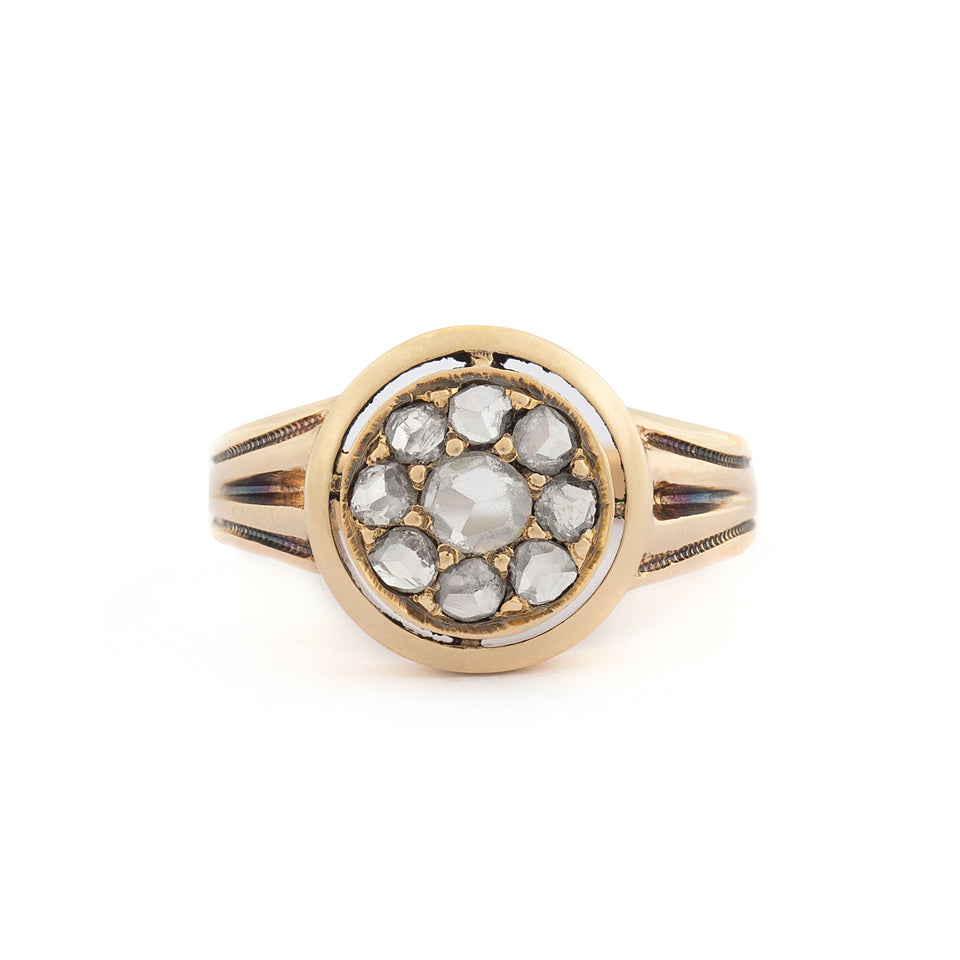Victorian Rose Cut Diamond Cluster 14k Gold Ring