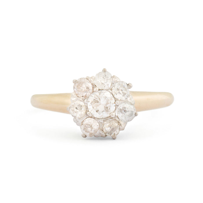 Old Cut Diamond Cluster 14k Gold Ring