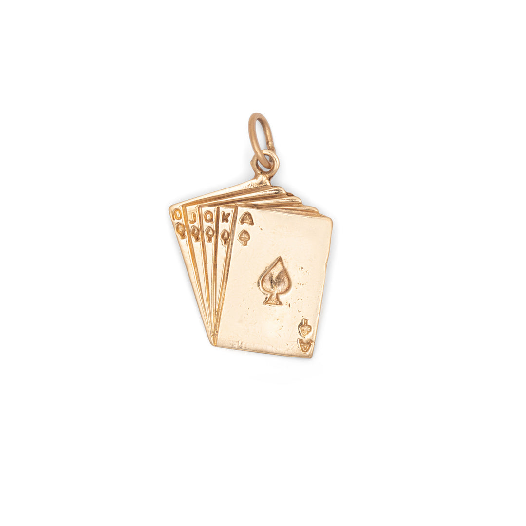 Royal Flush 14k Gold Card Charm
