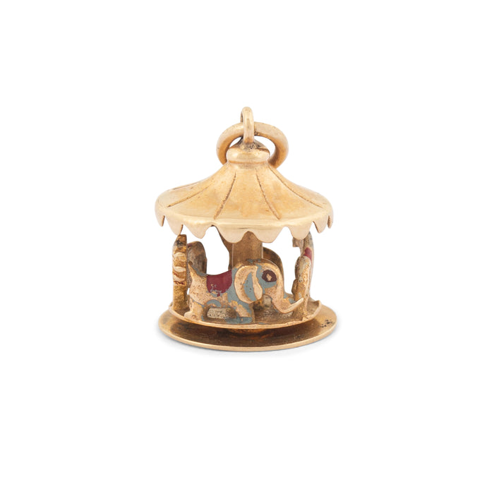 Movable Merry Go Round Enamel And 14k Gold Charm