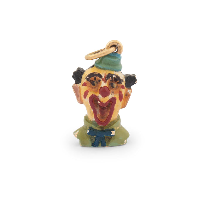 Laughing Clown 14k Gold And Enamel Charm