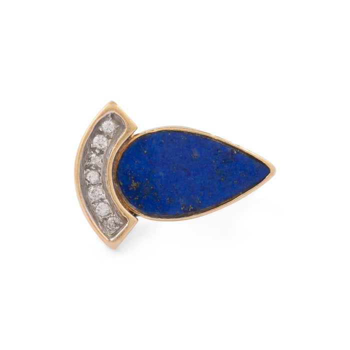 Lapis Lazuli And Diamond 14k Gold Ring