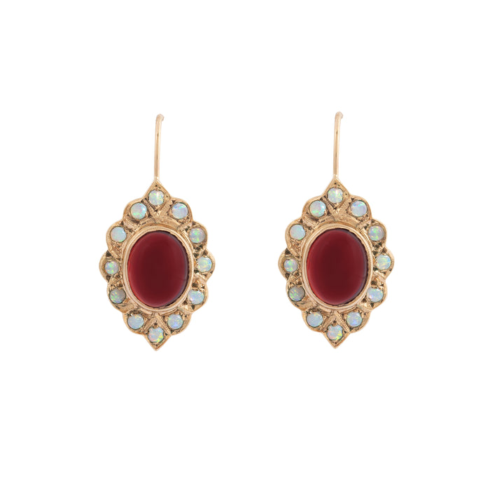 Garnet and Opal Cluster 9K Gold Drop Earrings