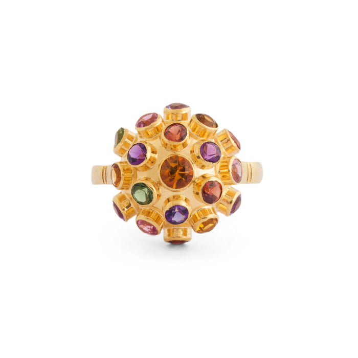 Retro Multi-Stone 18K Gold Sputnik Ring