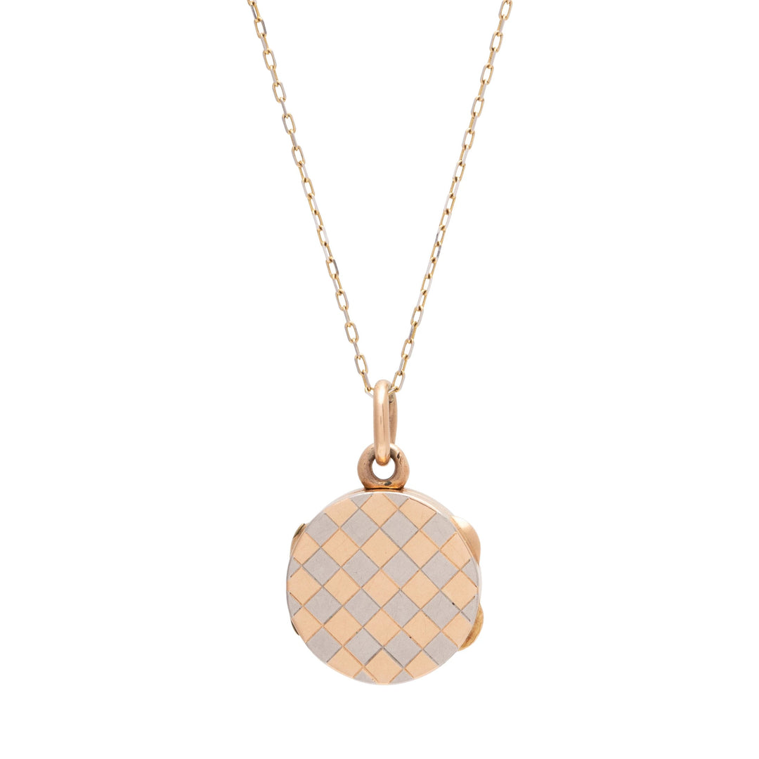 Checkerboard 14K Rose Gold and Platinum Locket
