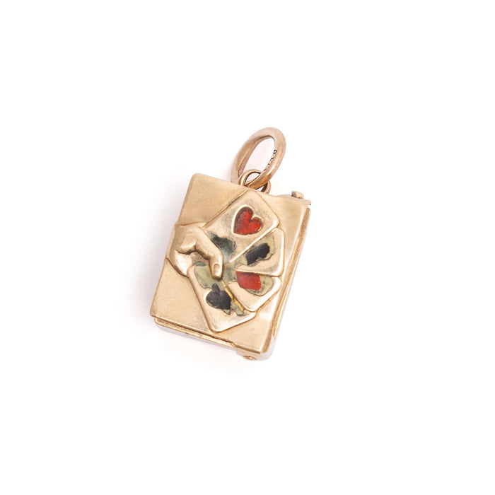 English Movable 9K Gold, Enamel, and Paper Deck of Cards Charm