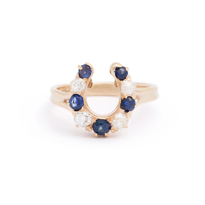 Victorian Horseshoe Sapphire and Old Mine Cut Diamond 14K Gold Ring