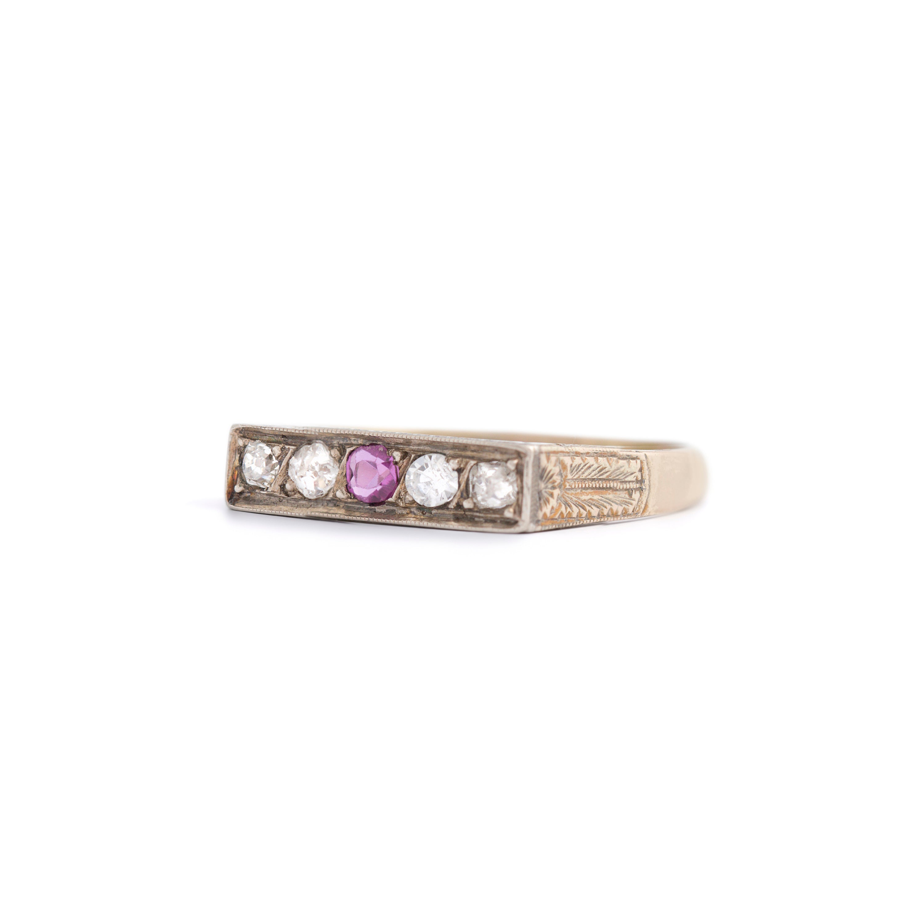 Old Mine Cut Diamond and Ruby 9k Gold Bar Ring